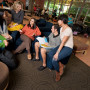 In the Kalapuya Commons, located in the York Graduate Center, students gather to study, relax bet...