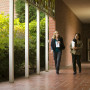 This breezeway opens to the Corbett lawn and runs along the entrance to the York Graduate Center,...