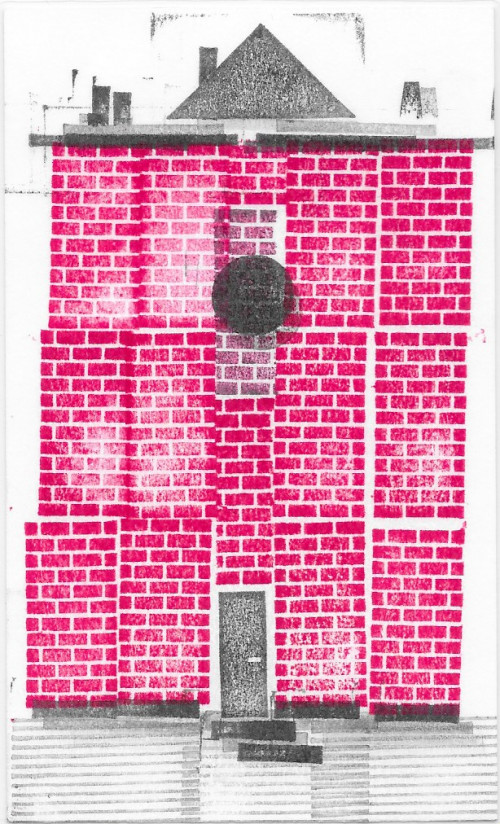 "Title: brick and boneDimensions: 5""x3?Materials: Ink Stamp"