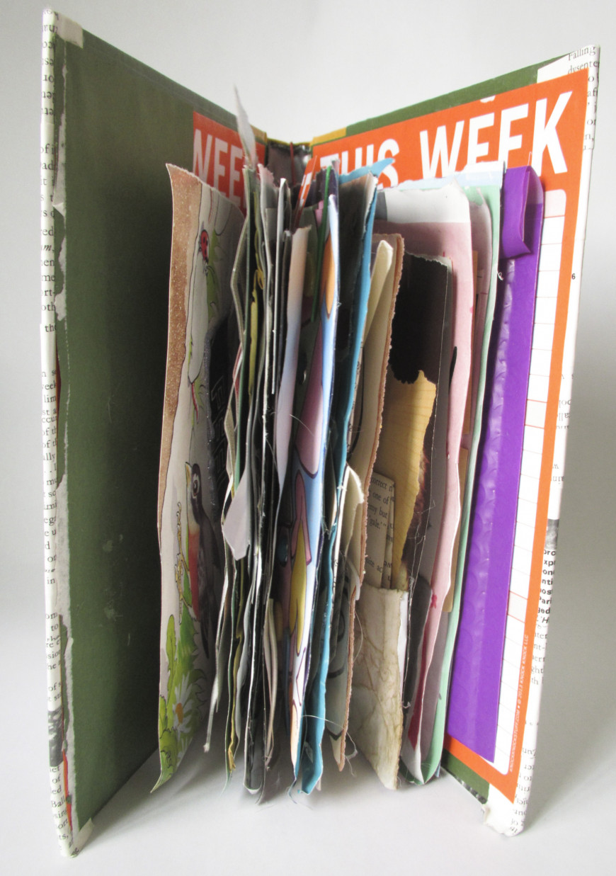 Title: first Junk Journal, openDimensions: 3.5x6.5x9.5Materials: book cover, paper, glue, waxed s...