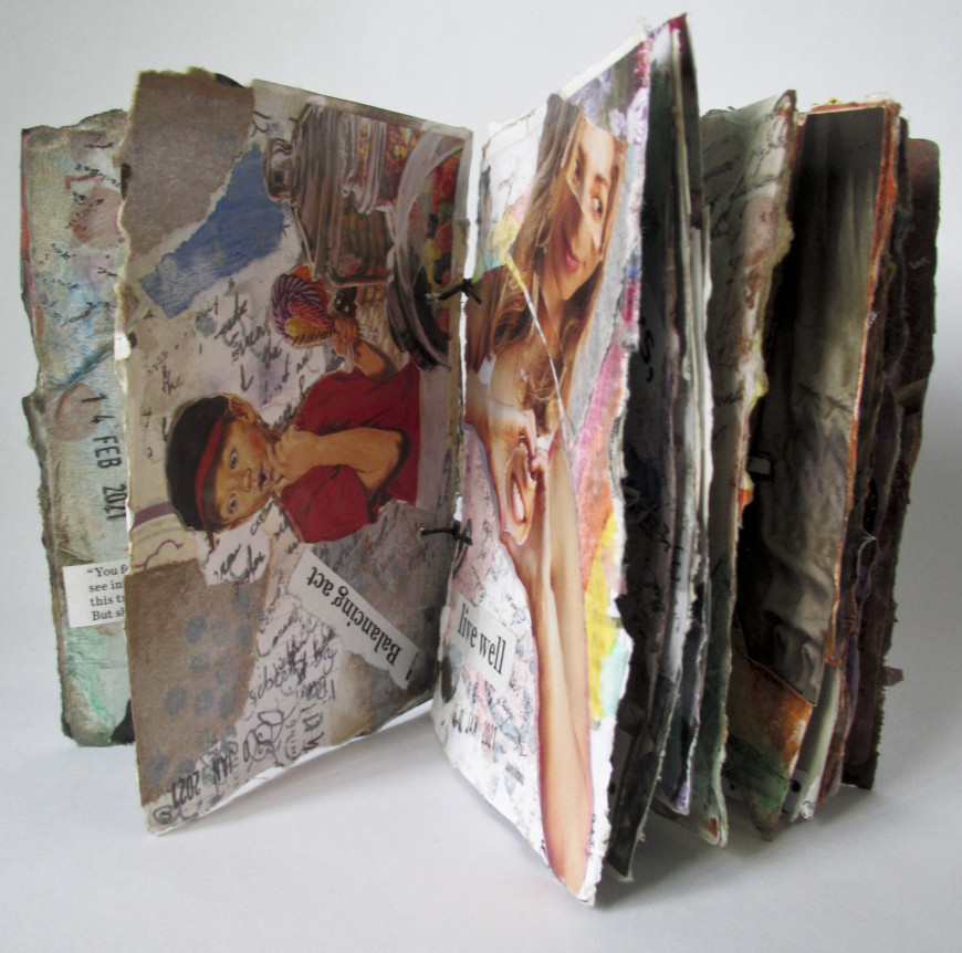 Title: Altered cards Junk Journal, openDimensions: 1.5x3.5x5Materials: playing cards, gesso, glue...